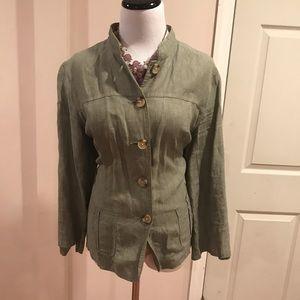 Cherokee olive linen jacket